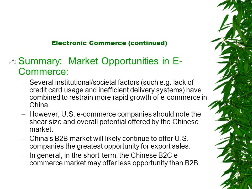 Electronic Commerce (continued) Summary: Market Opportunities in E- Commerce: –Several institutional/societal factors (such e.g. lack of credit card u