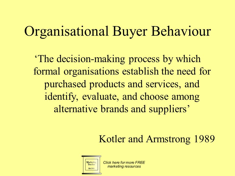 The Buying Decision Process recognition of the need e.g a new PC choice of involvement level (time and effort justified) e.g. two week ends identifica