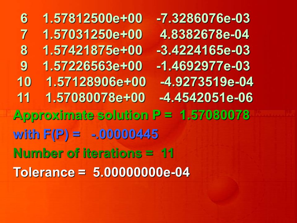 6 1.57812500e+00 -7.3286076e-03 7 1.57031250e+00 4.8382678e-04 7 1.57031250e+00 4.8382678e-04 8 1.57421875e+00 -3.4224165e-03 8 1.57421875e+00 -3.4224165e-03 9 1.57226563e+00 -1.4692977e-03 9 1.57226563e+00 -1.4692977e-03 10 1.57128906e+00 -4.9273519e-04 10 1.57128906e+00 -4.9273519e-04 11 1.57080078e+00 -4.4542051e-06 11 1.57080078e+00 -4.4542051e-06 Approximate solution P = 1.57080078 with F(P) = -.00000445 Number of iterations = 11 Tolerance = 5.00000000e-04