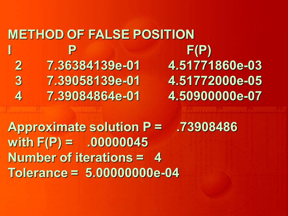 METHOD OF FALSE POSITION I P F(P) 2 7.36384139e-01 4.51771860e-03 2 7.36384139e-01 4.51771860e-03 3 7.39058139e-01 4.51772000e-05 3 7.39058139e-01 4.51772000e-05 4 7.39084864e-01 4.50900000e-07 4 7.39084864e-01 4.50900000e-07 Approximate solution P =.73908486 with F(P) =.00000045 Number of iterations = 4 Tolerance = 5.00000000e-04