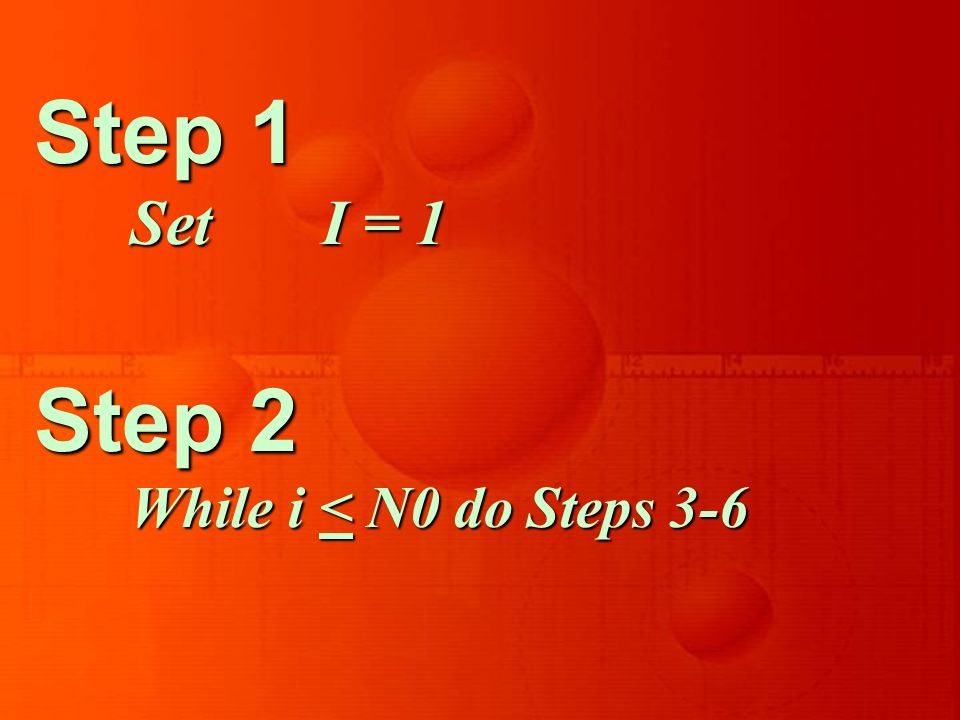 Step 1 Set I = 1 Step 2 While i < N0 do Steps 3-6