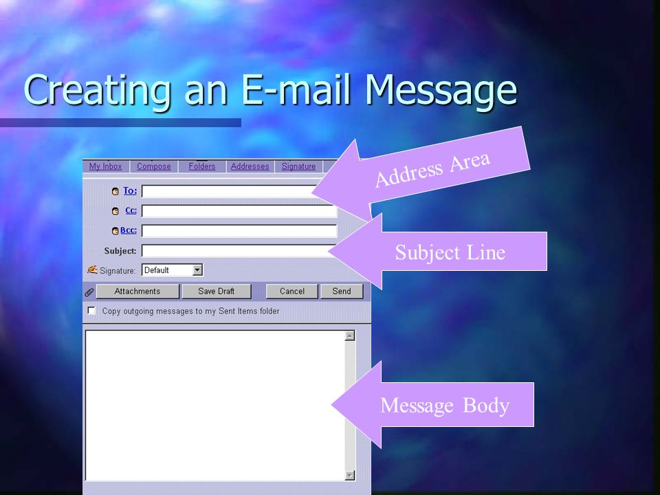 Creating an  Message Address Area Subject Line Message Body