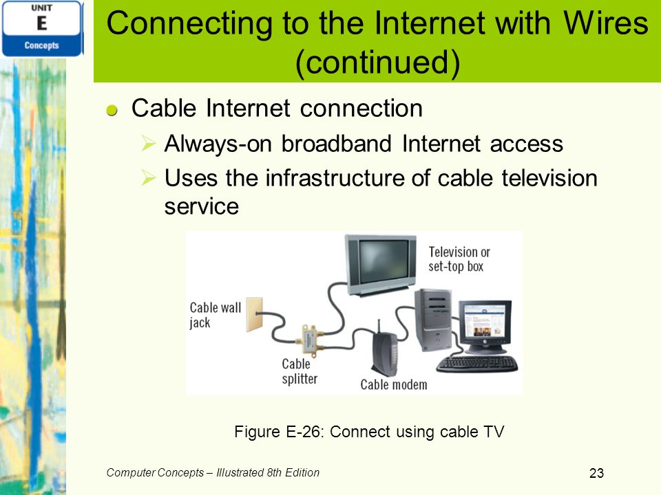 Computer Concepts – Illustrated 8th Edition 23 Connecting to the Internet with Wires (continued) Cable Internet connection Always-on broadband Interne