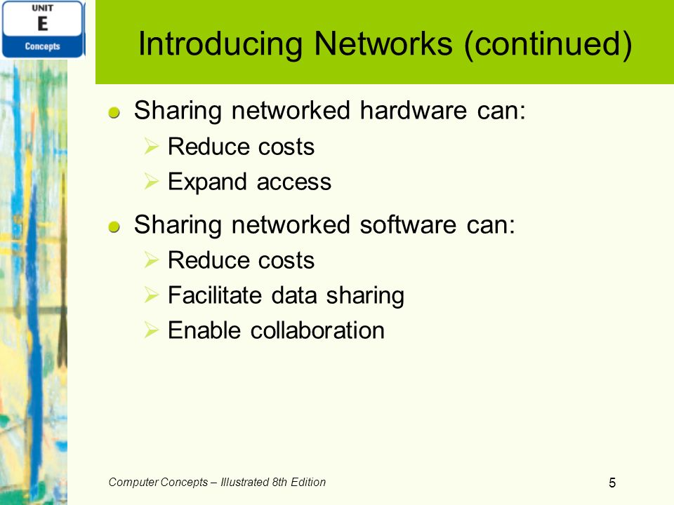 5 Introducing Networks (continued) Sharing networked hardware can: Reduce costs Expand access Sharing networked software can: Reduce costs Facilitate