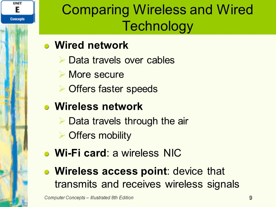 Computer Concepts – Illustrated 8th Edition 9 Comparing Wireless and Wired Technology Wired network Data travels over cables More secure Offers faster