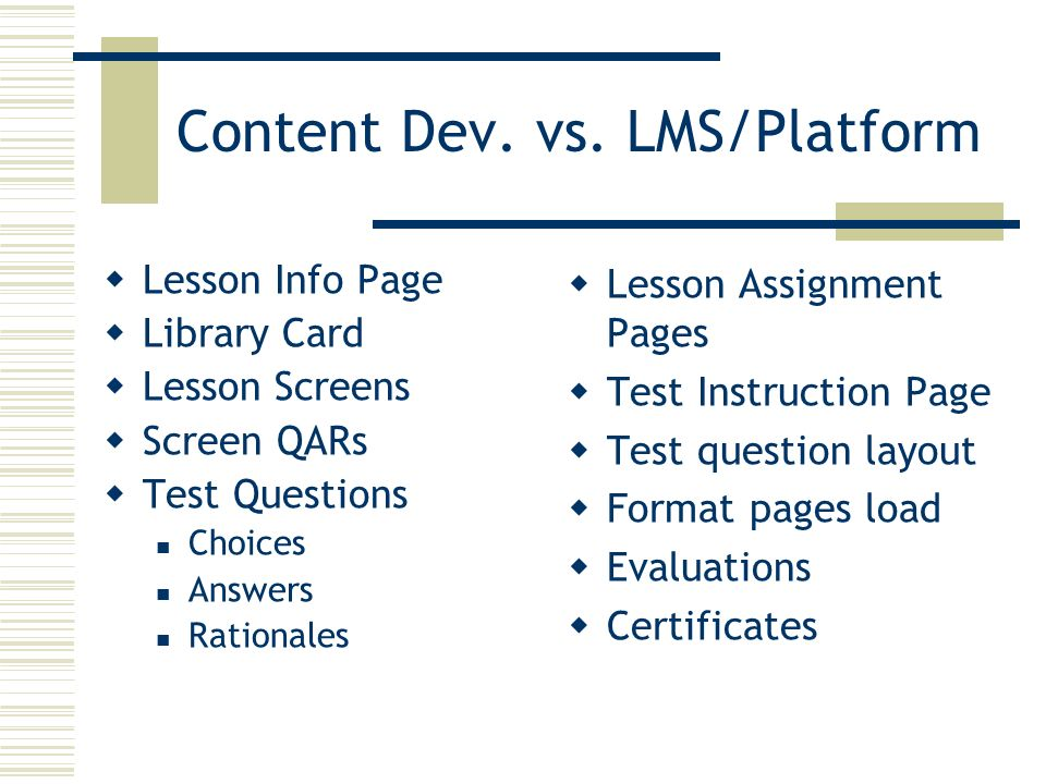 Content Dev. vs. LMS/Platform Lesson Info Page Library Card Lesson Screens Screen QARs Test Questions Choices Answers Rationales Lesson Assignment Pag