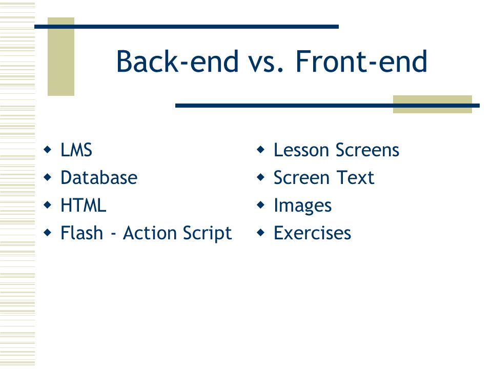 Back-end vs. Front-end LMS Database HTML Flash - Action Script Lesson Screens Screen Text Images Exercises