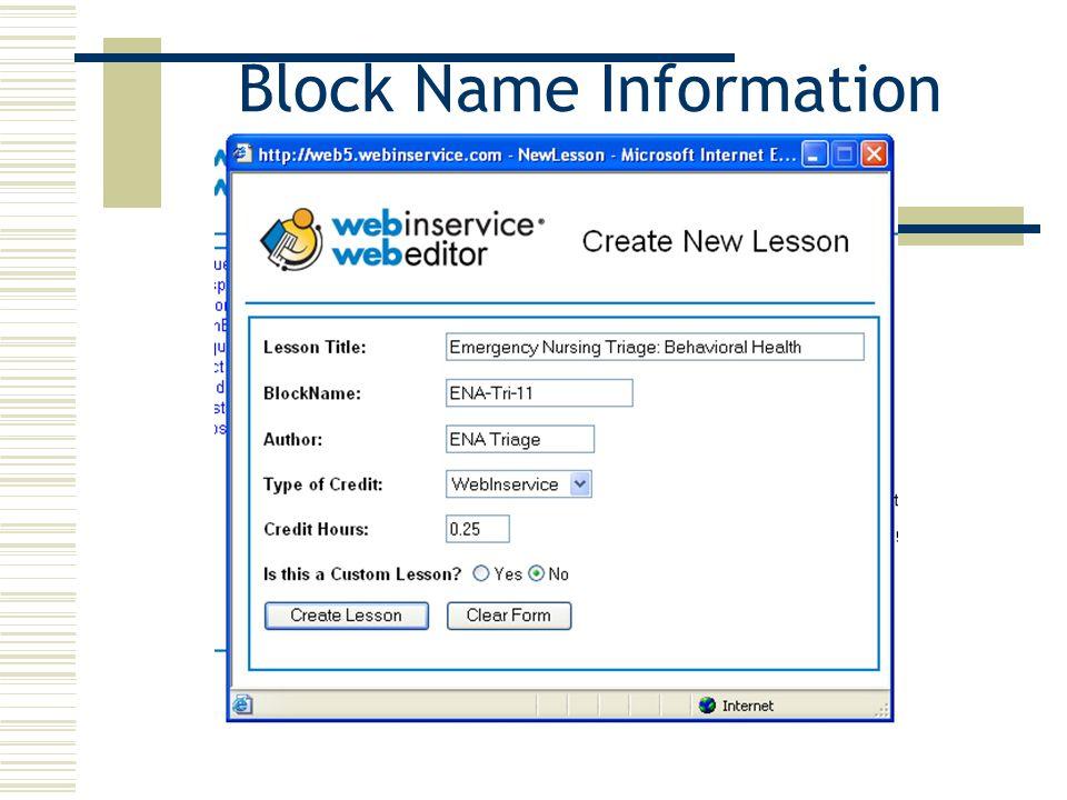 Block Name Information