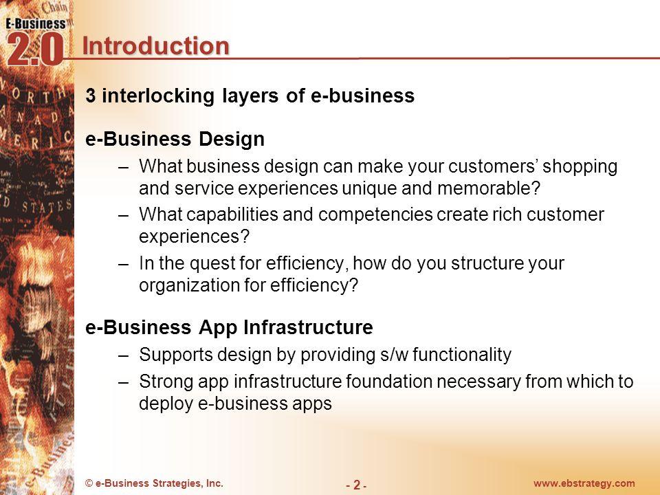 © e-Business Strategies, Inc.www.ebstrategy.com - 2 - Introduction 3 interlocking layers of e-business e-Business Design –What business design can mak