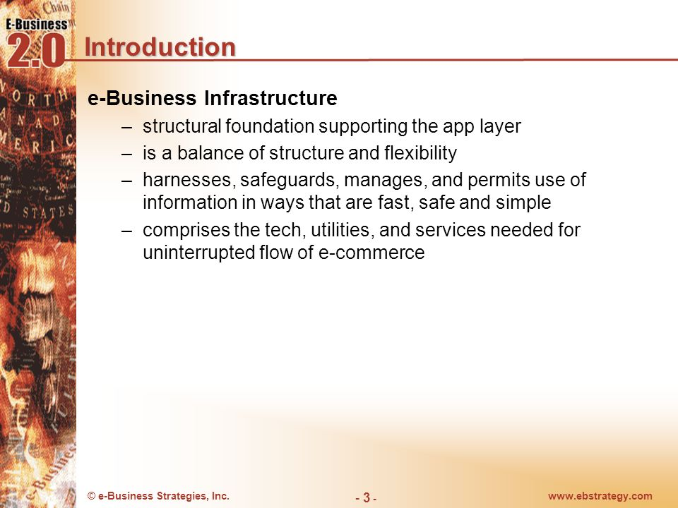 © e-Business Strategies, Inc.www.ebstrategy.com - 3 - Introduction e-Business Infrastructure –structural foundation supporting the app layer –is a bal
