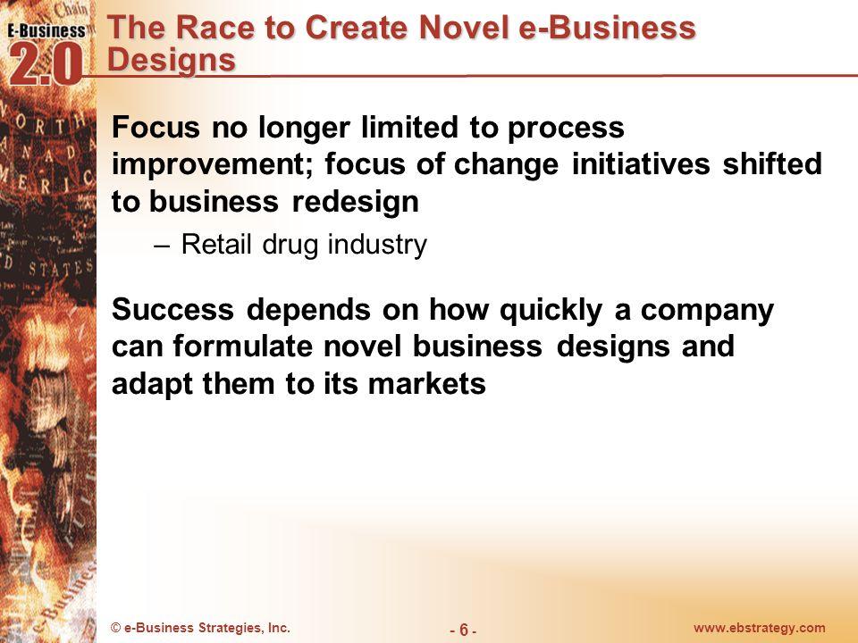 © e-Business Strategies, Inc.www.ebstrategy.com - 6 - The Race to Create Novel e-Business Designs Focus no longer limited to process improvement; focu