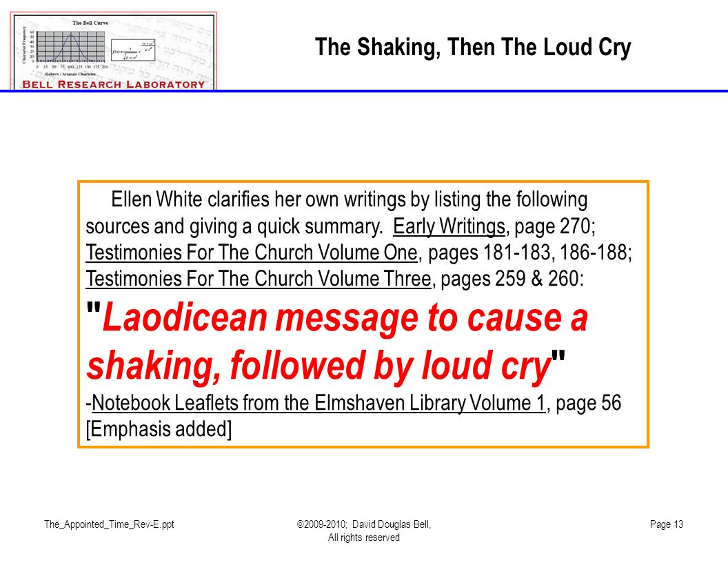 The_Appointed_Time_Rev-E.ppt©2009-2010; David Douglas Bell, All rights reserved Page 13 The Shaking, Then The Loud Cry Ellen White clarifies her own writings by listing the following sources and giving a quick summary.