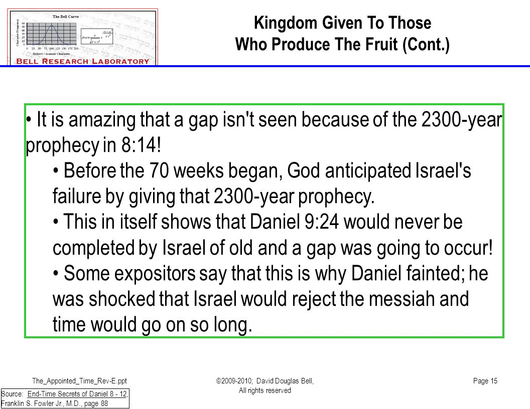 The_Appointed_Time_Rev-E.ppt©2009-2010; David Douglas Bell, All rights reserved Page 15 It is amazing that a gap isn t seen because of the 2300-year prophecy in 8:14.
