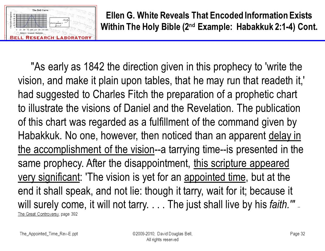 The_Appointed_Time_Rev-E.ppt©2009-2010; David Douglas Bell, All rights reserved Page 32 As early as 1842 the direction given in this prophecy to write the vision, and make it plain upon tables, that he may run that readeth it, had suggested to Charles Fitch the preparation of a prophetic chart to illustrate the visions of Daniel and the Revelation.