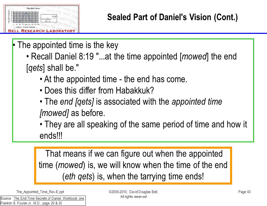 The_Appointed_Time_Rev-E.ppt©2009-2010; David Douglas Bell, All rights reserved Page 43 The appointed time is the key Recall Daniel 8:19 ...at the time appointed [ mowed ] the end [ qets ] shall be. At the appointed time - the end has come.