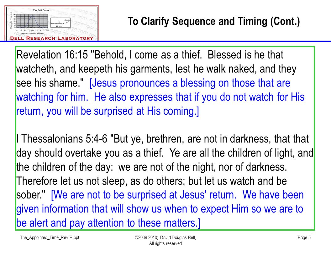 The_Appointed_Time_Rev-E.ppt©2009-2010; David Douglas Bell, All rights reserved Page 5 To Clarify Sequence and Timing (Cont.) Revelation 16:15 Behold, I come as a thief.