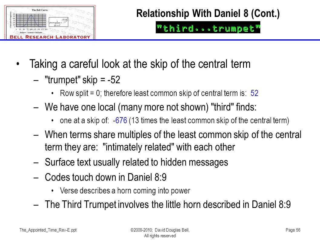 The_Appointed_Time_Rev-E.ppt©2009-2010; David Douglas Bell, All rights reserved Page 56 Taking a careful look at the skip of the central term –