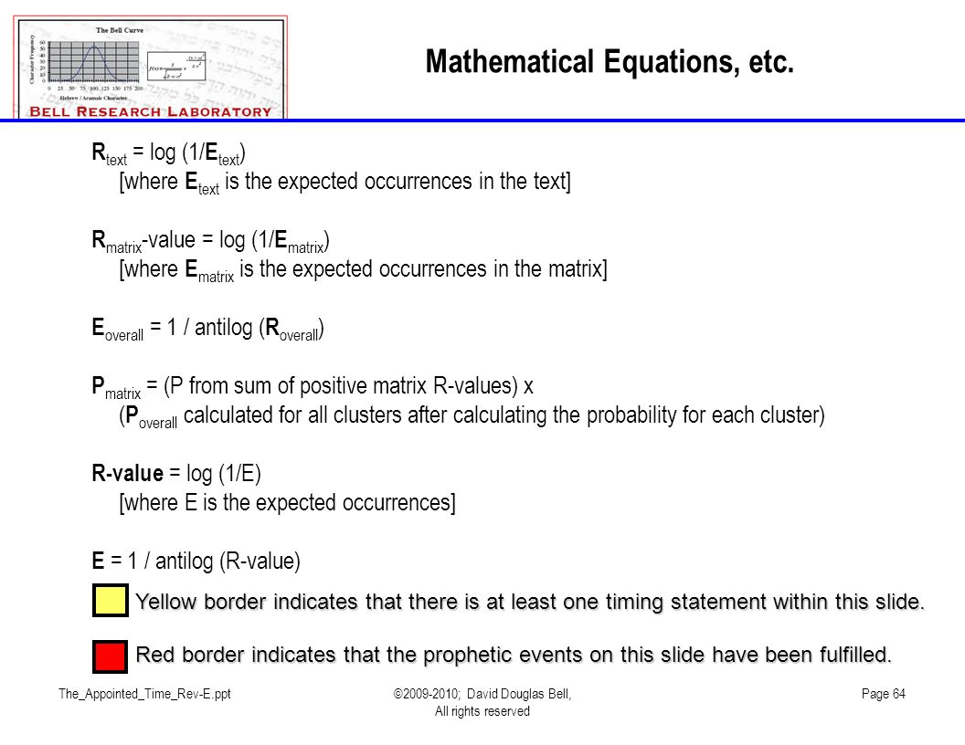 The_Appointed_Time_Rev-E.ppt©2009-2010; David Douglas Bell, All rights reserved Page 64 Mathematical Equations, etc. R text = log (1/ E text ) [where