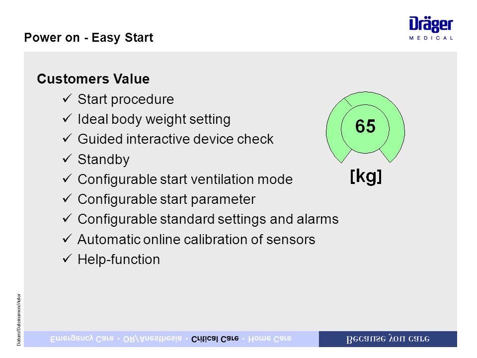 Datum/Dateinamen/Autor Customers Value üStart procedure üIdeal body weight setting üGuided interactive device check üStandby üConfigurable start venti
