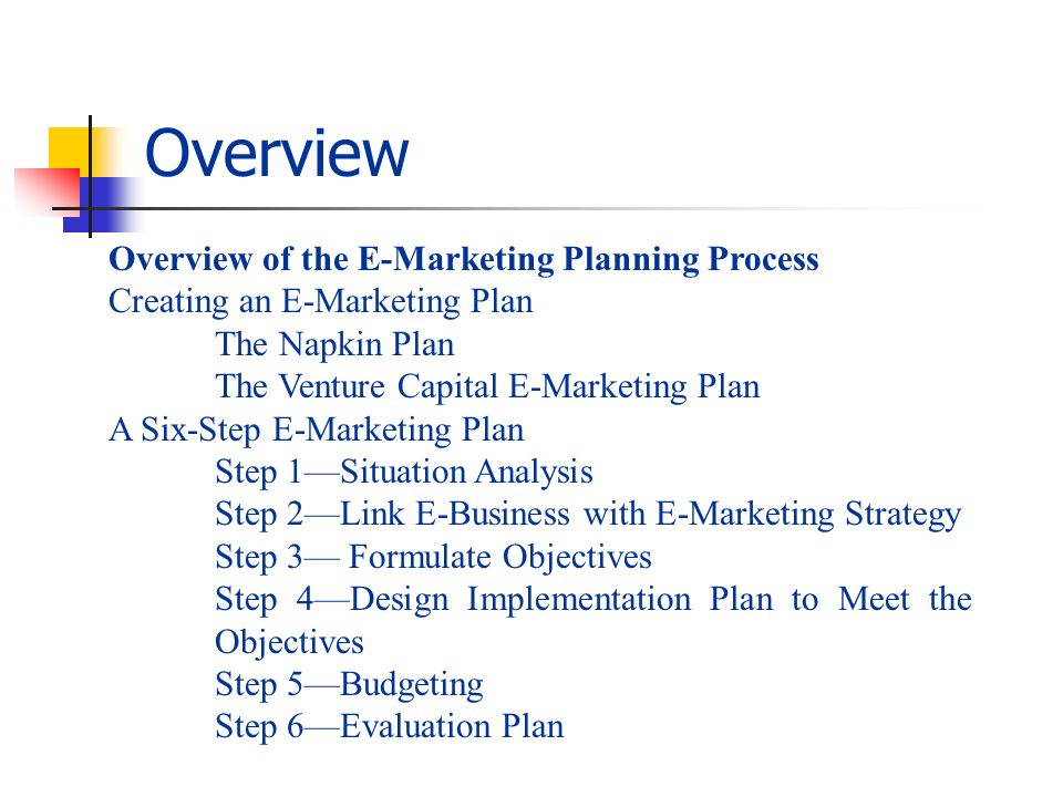 Overview of the E-Marketing Planning Process Creating an E-Marketing Plan The Napkin Plan The Venture Capital E-Marketing Plan A Six-Step E-Marketing