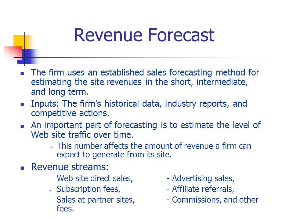 Revenue Forecast The firm uses an established sales forecasting method for estimating the site revenues in the short, intermediate, and long term. Inp