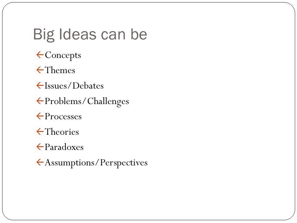 Big Ideas can be ß Concepts ß Themes ß Issues/Debates ß Problems/Challenges ß Processes ß Theories ß Paradoxes ß Assumptions/Perspectives