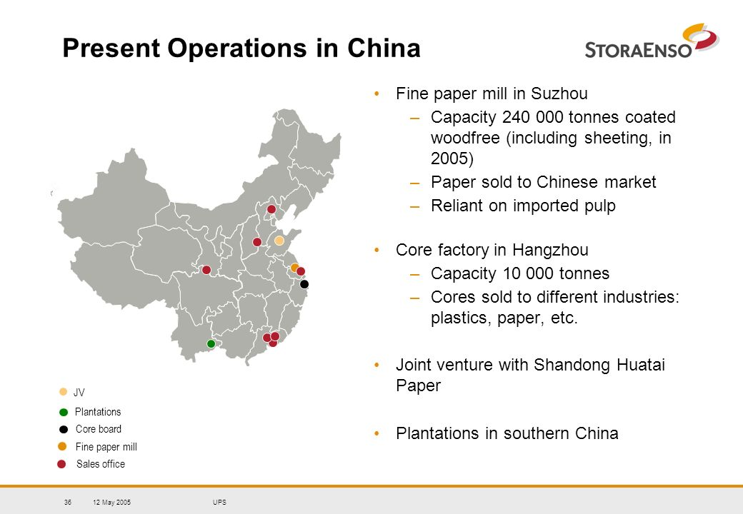 12 May 2005UPS36 Present Operations in China Fine paper mill in Suzhou –Capacity 240 000 tonnes coated woodfree (including sheeting, in 2005) –Paper s