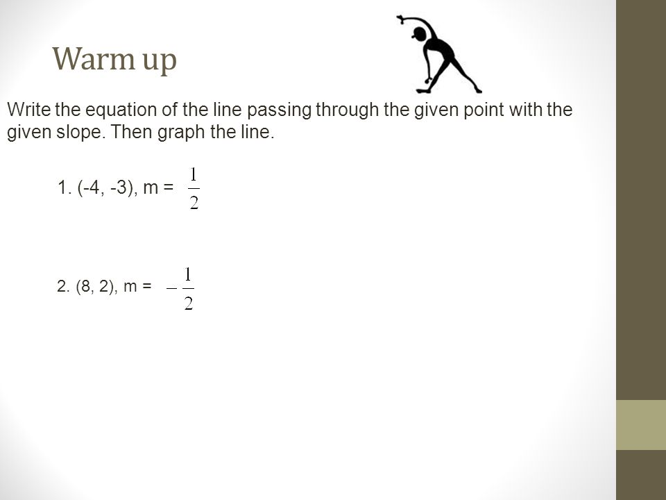 Warm up Write the equation of the line passing through the given point with the given slope.