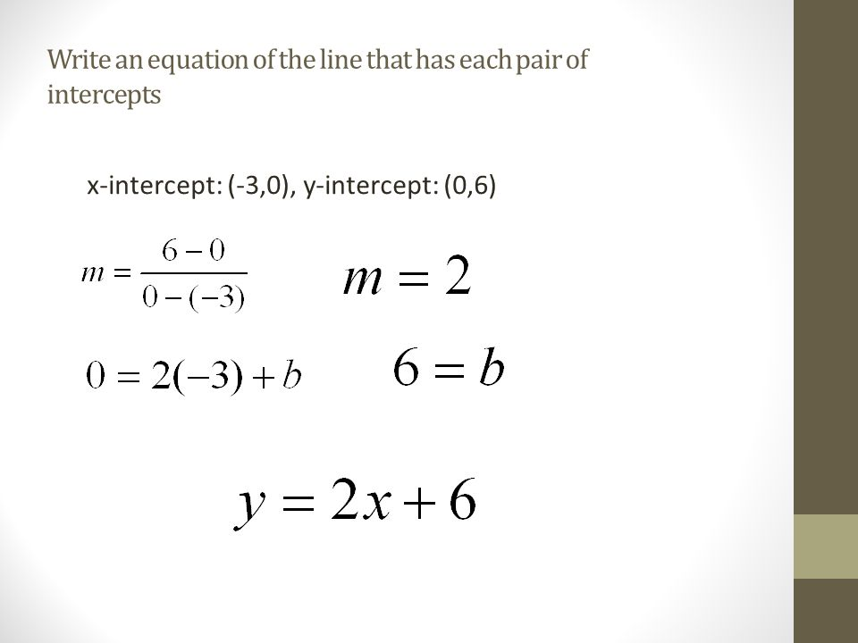 Write an equation of the line that has each pair of intercepts x-intercept: (-3,0), y-intercept: (0,6)