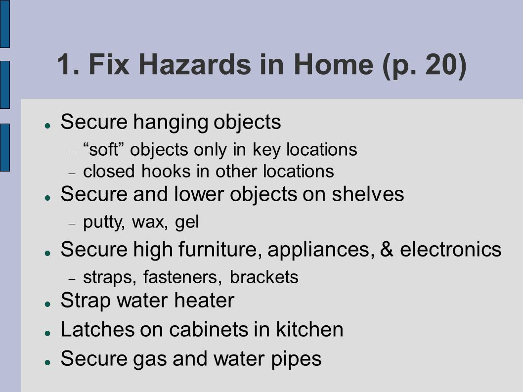 1. Fix Hazards in Home (p.
