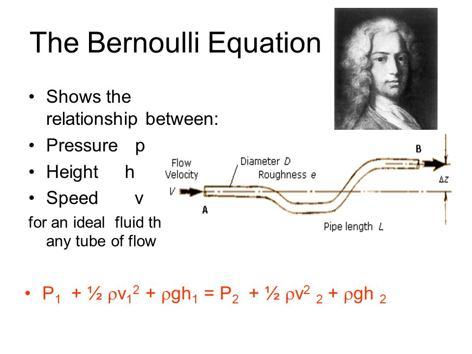 The Bernoulli Equation Shows the relationship between: Pressure p Height h Speed v for an ideal fluid through any tube of flow P 1 + ½ v 1 2 + gh 1 =