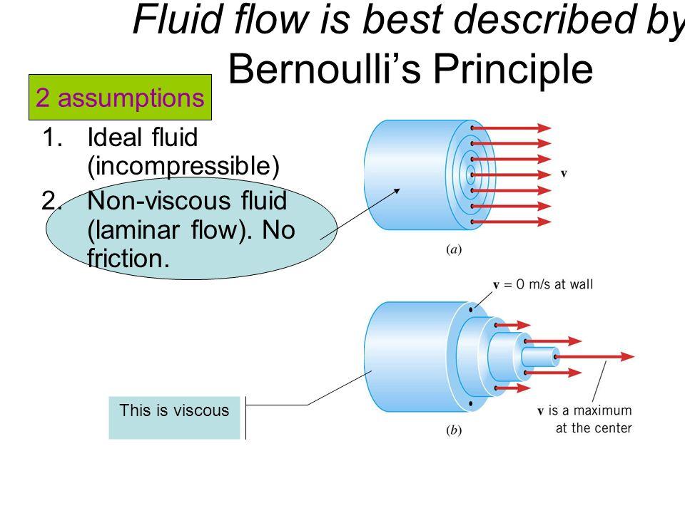 1.Ideal fluid (incompressible) 2.Non-viscous fluid (laminar flow). No friction. This is viscous Fluid flow is best described by Bernoullis Principle 2
