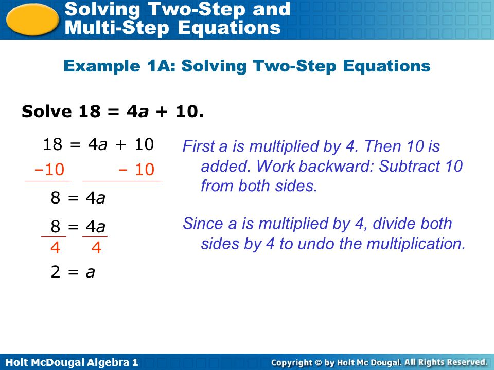 Holt McDougal Algebra 1 Solving Two-Step and Multi-Step Equations Solve 5t – 2 = –32.