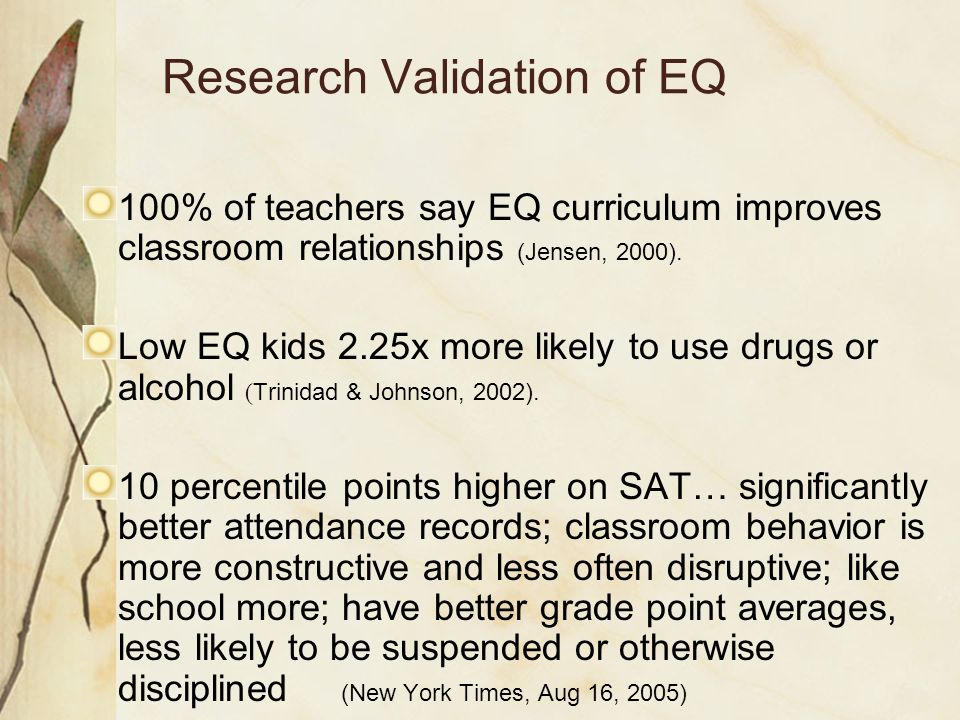 Research Validation of EQ 100% of teachers say EQ curriculum improves classroom relationships (Jensen, 2000). Low EQ kids 2.25x more likely to use dru