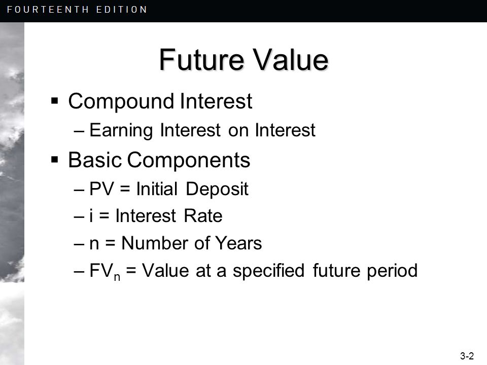 3-2 Future Value Compound Interest –Earning Interest on Interest Basic Components –PV = Initial Deposit –i = Interest Rate –n = Number of Years –FV n