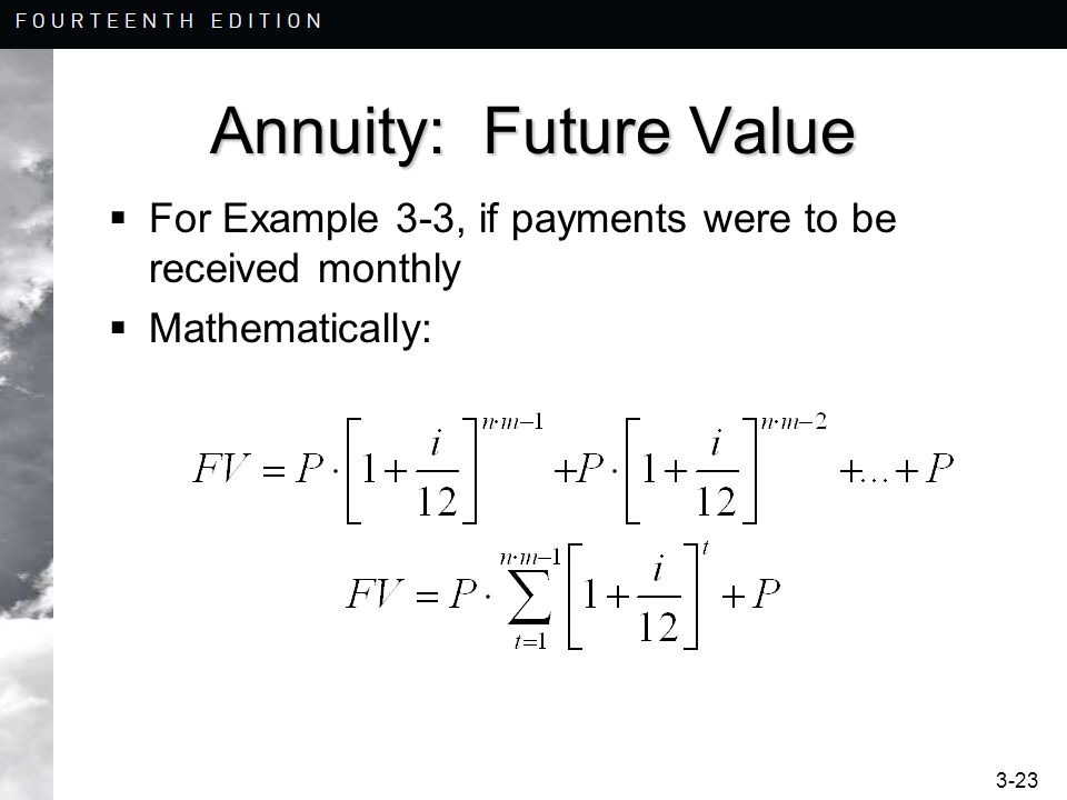 3-23 Annuity: Future Value For Example 3-3, if payments were to be received monthly Mathematically: