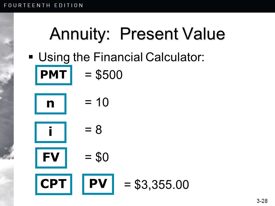 3-28 Annuity: Present Value Using the Financial Calculator: = $500 = 10 = 8 = $0 = $3,355.00 n i CPT PV PMT FV