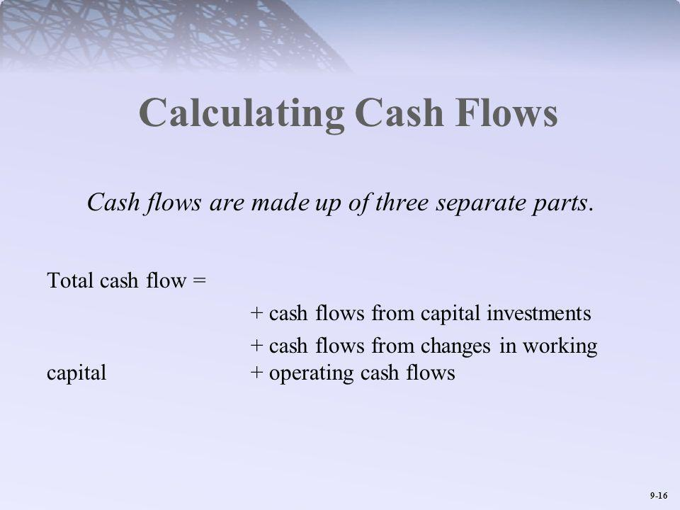9-16 Calculating Cash Flows Cash flows are made up of three separate parts. Total cash flow = + cash flows from capital investments + cash flows from