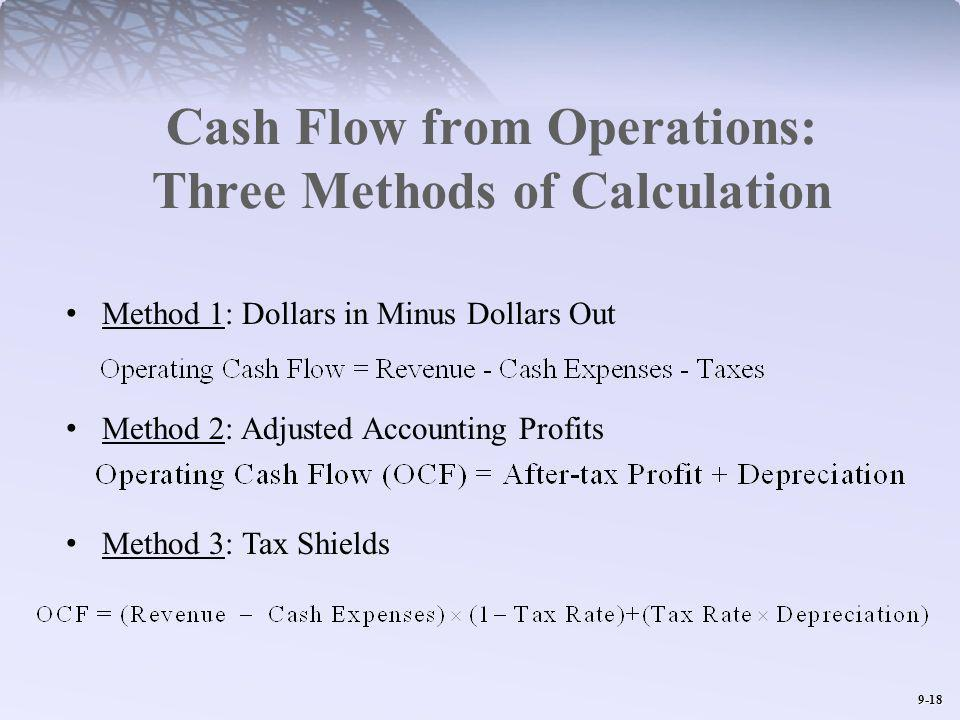 9-18 Cash Flow from Operations: Three Methods of Calculation Method 1: Dollars in Minus Dollars Out Method 2: Adjusted Accounting Profits Method 3: Ta