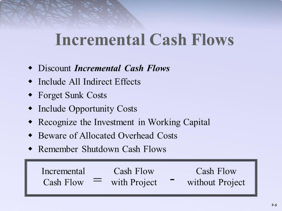 9-6 Incremental Cash Flows Discount Incremental Cash Flows Include All Indirect Effects Forget Sunk Costs Include Opportunity Costs Recognize the Investment in Working Capital Beware of Allocated Overhead Costs Remember Shutdown Cash Flows Incremental Cash Flow Cash Flow with Project Cash Flow without Project = -