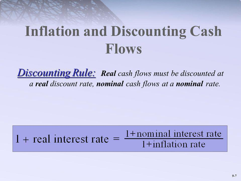 9-7 Inflation and Discounting Cash Flows Discounting Rule: Discounting Rule: Real cash flows must be discounted at a real discount rate, nominal cash