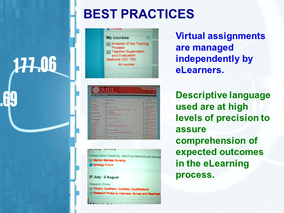 BEST PRACTICES Virtual assignments are managed independently by eLearners. Descriptive language used are at high levels of precision to assure compreh