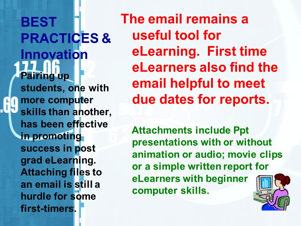 BEST PRACTICES & Innovation The email remains a useful tool for eLearning. First time eLearners also find the email helpful to meet due dates for repo