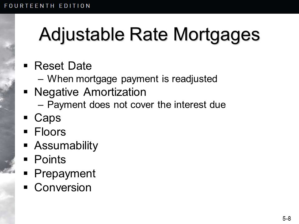 5-9 Adjustable Rate Mortgages Hybrid Loans –Longer initial reset period, 3/1, 5/1, and 7/1 Interest Only ARM and Floating Rate –I.O.