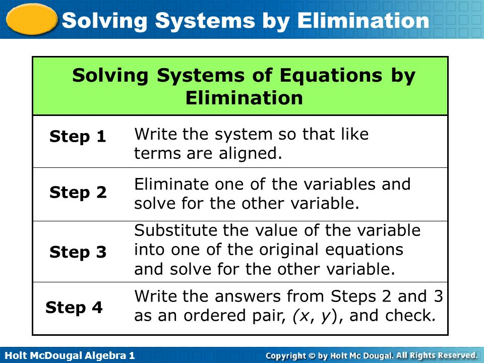 Holt McDougal Algebra 1 Solving Systems by Elimination Solving Systems of Equations by Elimination Step 1 Write the system so that like terms are alig