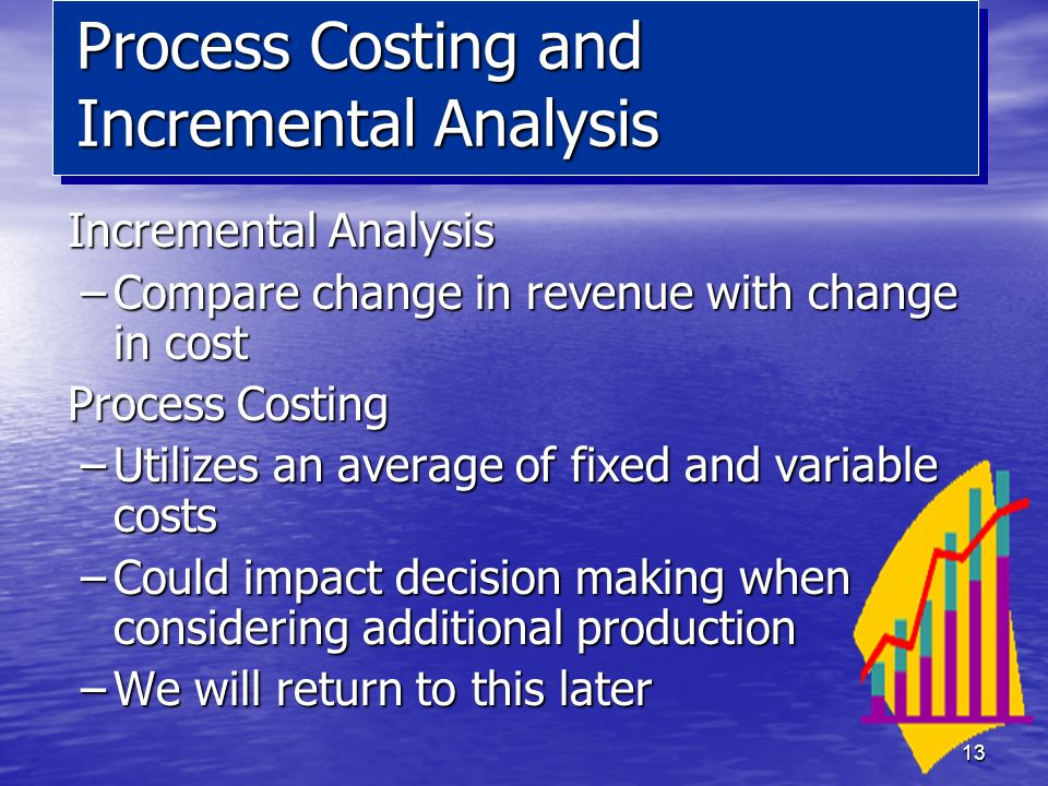 13 Incremental Analysis –Compare change in revenue with change in cost Process Costing –Utilizes an average of fixed and variable costs –Could impact