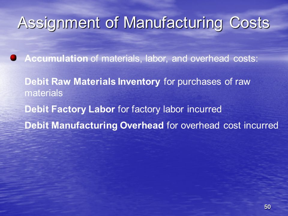 50 Accumulation of materials, labor, and overhead costs: Debit Raw Materials Inventory for purchases of raw materials Debit Factory Labor for factory