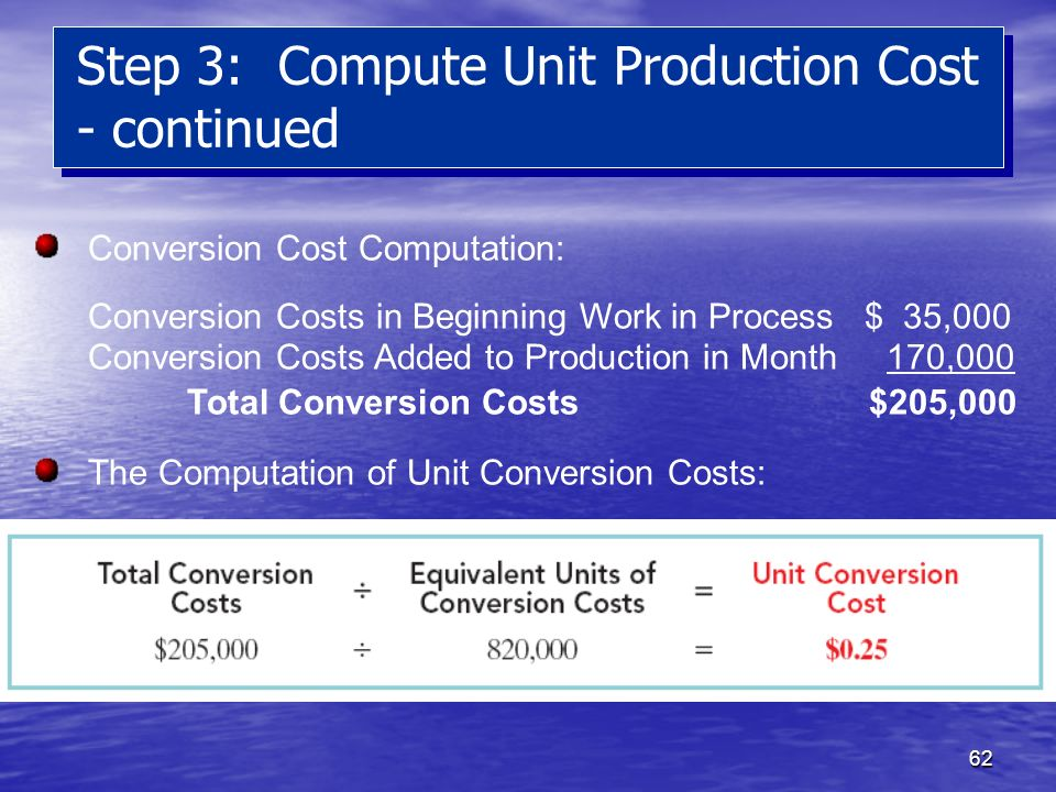 62 Step 3: Compute Unit Production Cost - continued Conversion Cost Computation: Conversion Costs in Beginning Work in Process $ 35,000 Conversion Cos