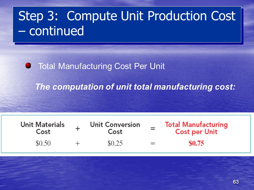 63 Step 3: Compute Unit Production Cost – continued Total Manufacturing Cost Per Unit The computation of unit total manufacturing cost: