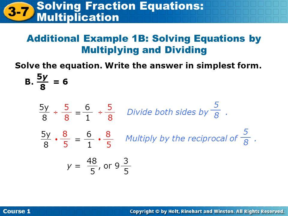 math worksheet : 3 7 solving fraction equations multiplication course 1 warm up  : Fractional Equations Worksheets